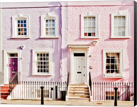 Framed London Pink Purple Houses Print