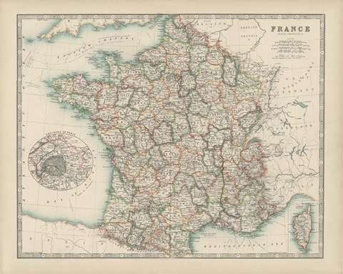 Framed Map of France Print