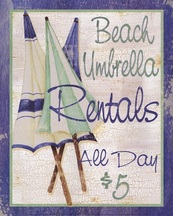 Framed Beach Umbrellas Print