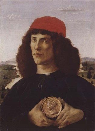 Framed Portrait of a Man with a Medal of Cosimo the Elder Print