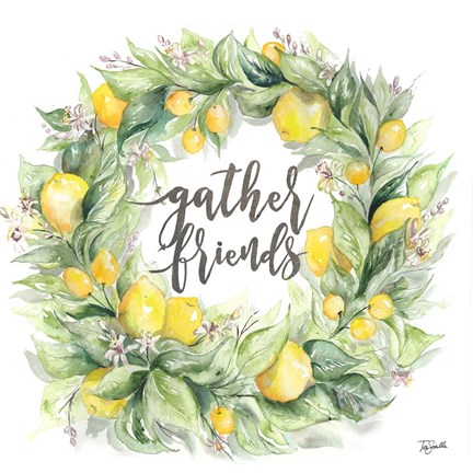 Framed Watercolor Lemon Wreath Gather Friends Print