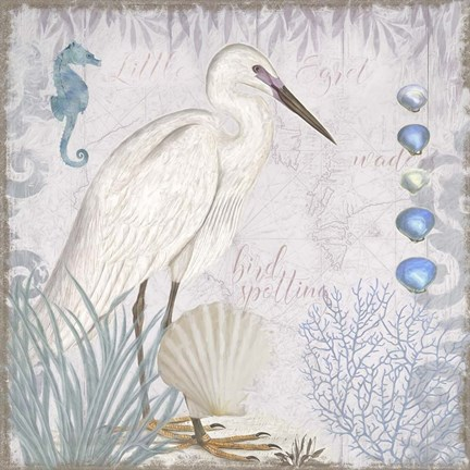Framed Waders II Little Egret Print