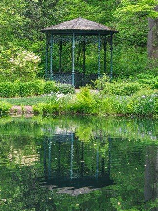 Framed Delaware, Gazebo Overlooking A Pond Print