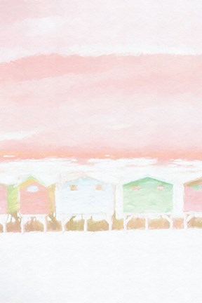 Framed Pink Coastal Shacks I Print
