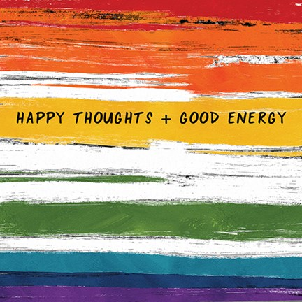 Framed Happy Thoughts Rainbow Print