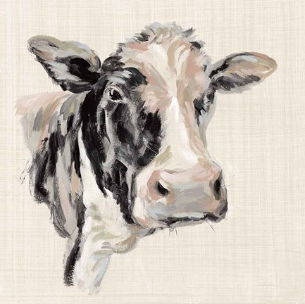 Framed Expressionistic Cow I Neutral Linen Print