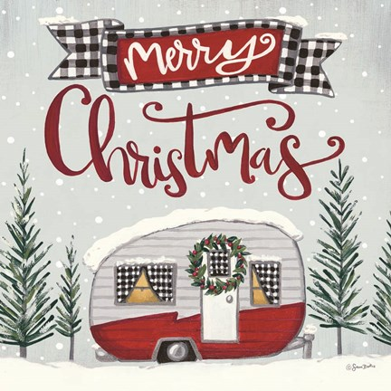 Framed Merry Christmas Camper Print