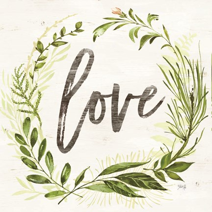 Framed Love Greenery Wreath Print