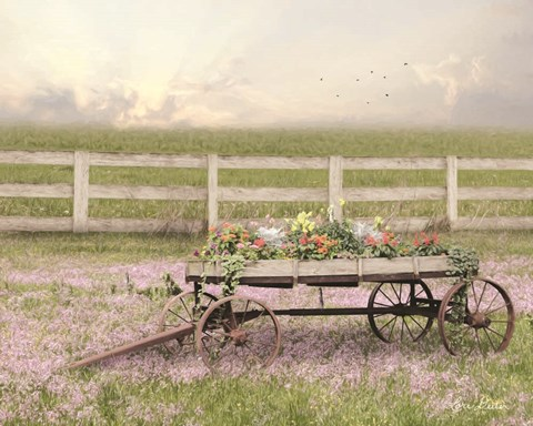 Framed Country Flower Wagon Print