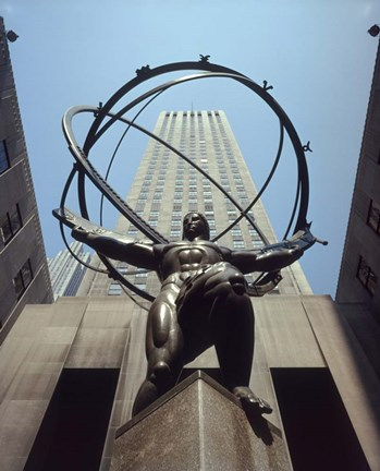 Framed Atlas Statue Rockefeller Center, NYC Print