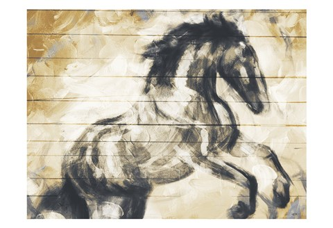 Framed Horse Painted On Wood Print