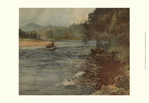 Framed Salmon Fishing Print