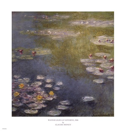 Framed Waterlilies at Giverny Print