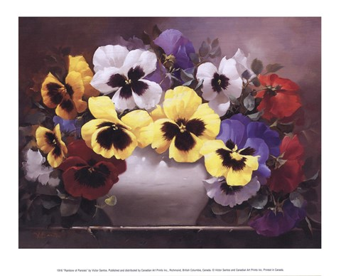 Framed Rainbow of Pansies Print