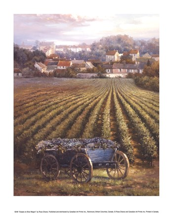 Framed Grapes on Blue Wagon Print
