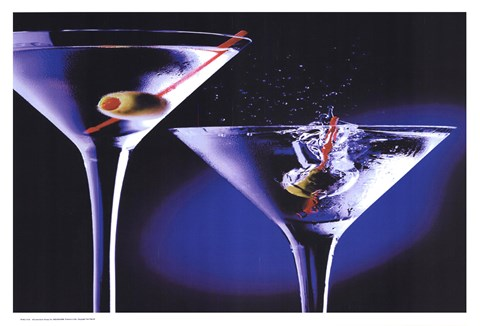 Framed MARTINIS WITH OLIVES Print
