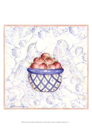 Framed Toile & Berries I Print