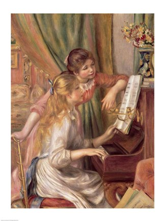 Framed Young Girls at the Piano, 1892 Print
