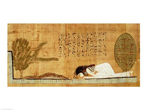 Framed Funerary papyrus depicting the deceased prostrate in front of the crocodile Print
