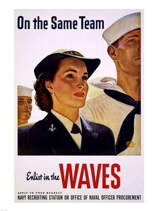 Framed On the Same Team Enlist in the Waves Print