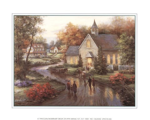 Framed Country Church Print