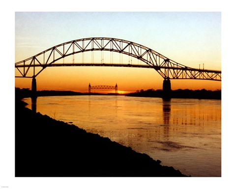 Framed Bourne Bridge over the Cape Cod Canal Print