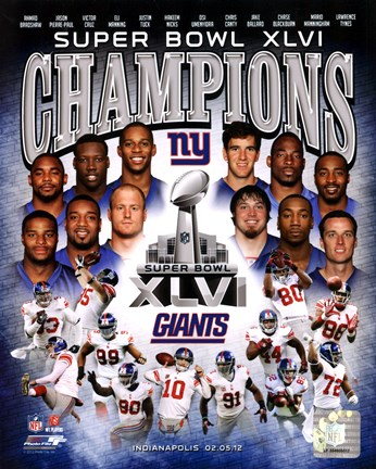 Framed New York Giants Super Bowl XLVI Champions Composite Print