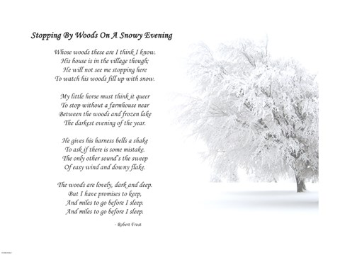 Framed Stopping by Woods on a Snowy Evening by Robert Frost Print