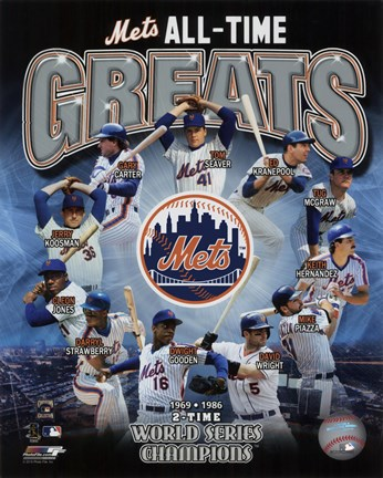 Framed New York Mets All Time Greats Composite Print