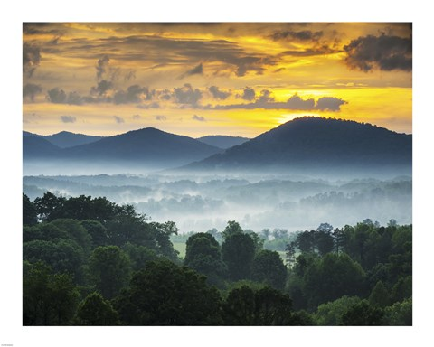 Framed Asheville NC Blue Ridge Mountains Sunset and Fog Landscape Print