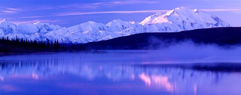 Framed Reflection of snow covered mountains on water, Mt McKinley, Wonder Lake, Denali National Park, Alaska, USA Print
