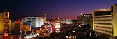 Framed Buildings Lit Up At Night, Las Vegas, Nevada, USA (purple sky) Print