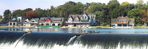 Framed Boathouse Row at the waterfront, Schuylkill River, Philadelphia, Pennsylvania Print