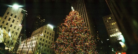 Framed Christmas tree lit up at night, Rockefeller Center, Manhattan, New York State Print