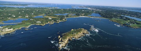 Framed Aerial view of an island, Newport, Rhode Island, USA Print