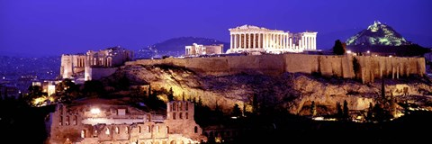 Framed Acropolis at Night Print