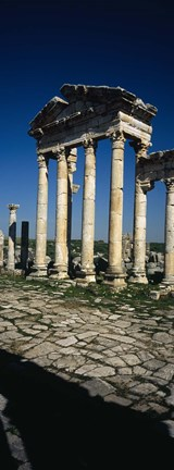 Framed Old ruins of a built structure, Entrance Columns, Apamea, Syria Print