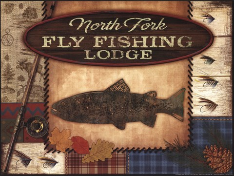 Framed Fly Fishing Lodge Print