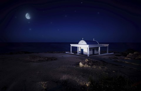 Framed small church at night with starry sky, Crete, Greece Print