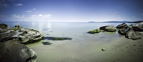 Framed Panoramic view of tranquil sea and boulders against blue sky, Burgas, Bulgaria Print
