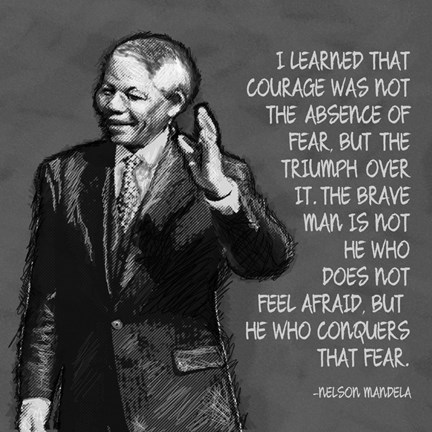 Framed He Who Conquers - Nelson Mandela Quote Print