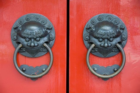 Framed Pair of Door Knockers, Buddha Tooth Relic Temple, Singapore Print
