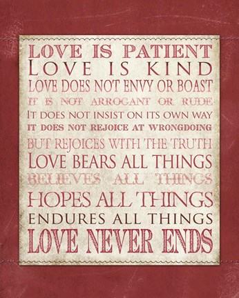 Framed Love Is Patient Print