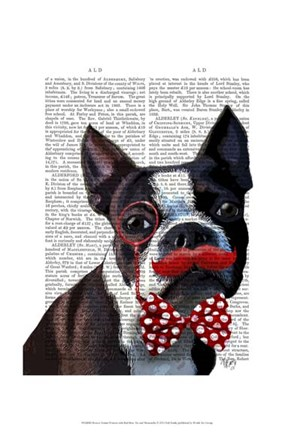 Framed Boston Terrier Portrait with Red Bow Tie and Moustache Print
