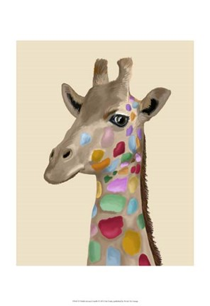 Framed MultiColoured Giraffe Print