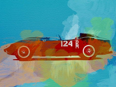 Framed Ferrari Testa Rossa Watercolor 1 Print
