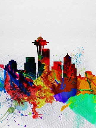 Framed Seattle Watercolor Skyline 2 Print