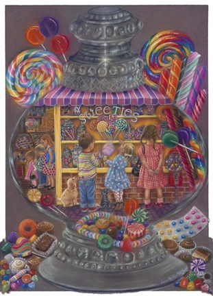 Framed Sweeties (Candy Jar) Print