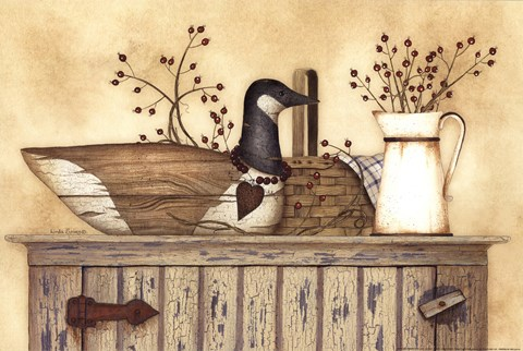 Framed Duck And Berry Still Life Print