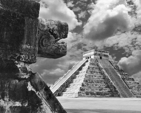 Framed Serpent And The Pyramid, Chechinitza, Mexico 02 Print